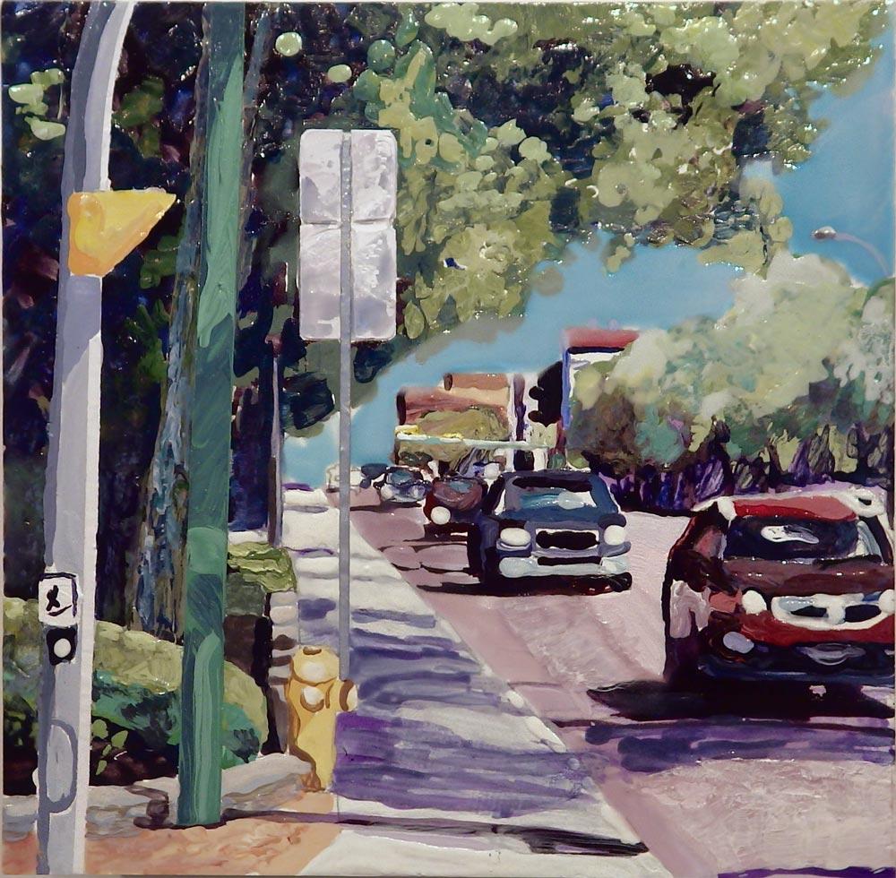 "Fr. Bridge to Downtown, 6"" x 6"", Acrylic/Panel, 2013"