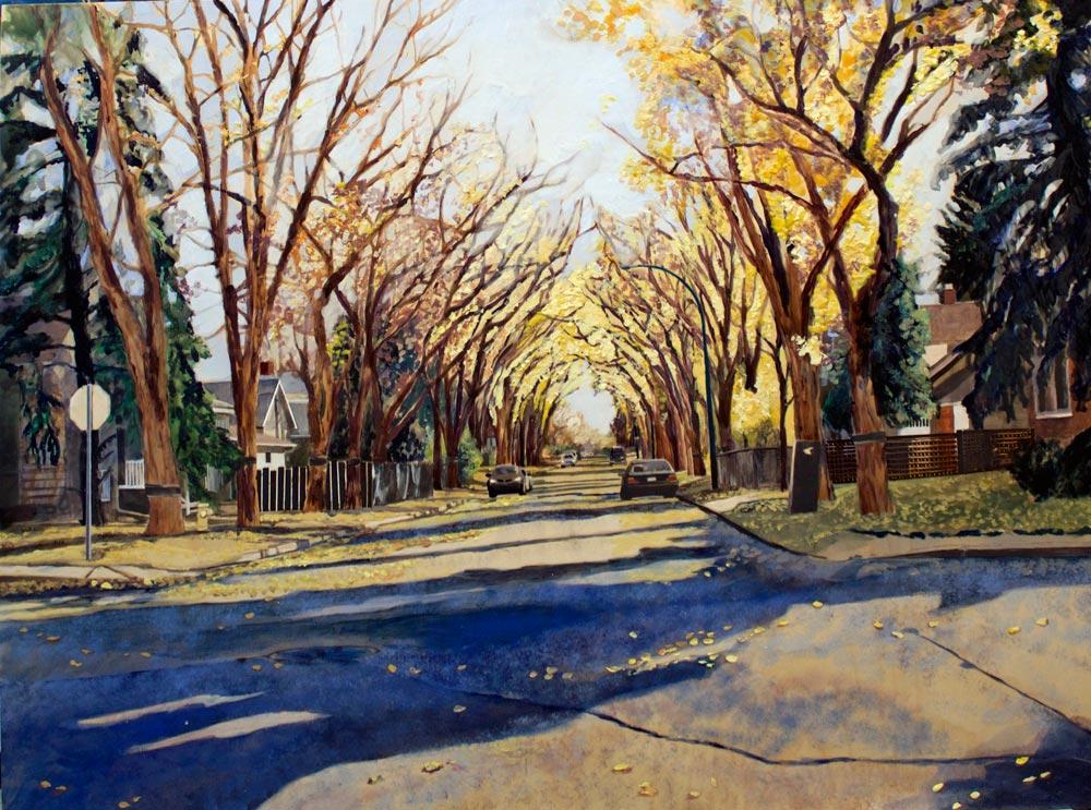 """Side Street, 30"""" x 40"""", Acrylic/Panel, 2015"""
