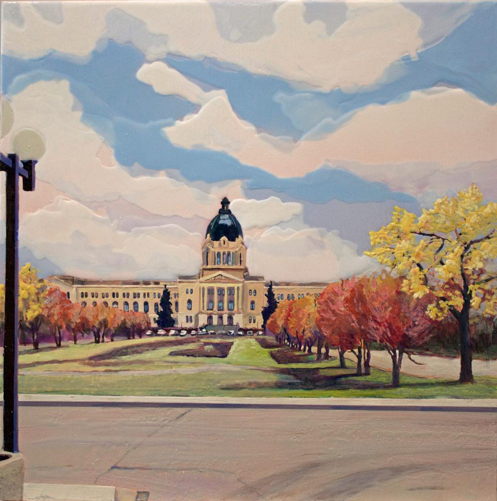 """Autumn at the Legislature, 16"""" x 16"""", 2015"""