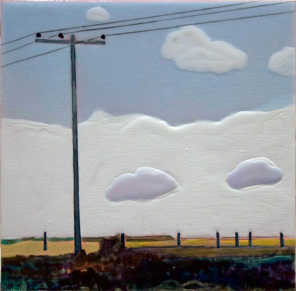 "Phenomena 1, 6"" x 6"", Acrylic/Coloured Ground, 2015"