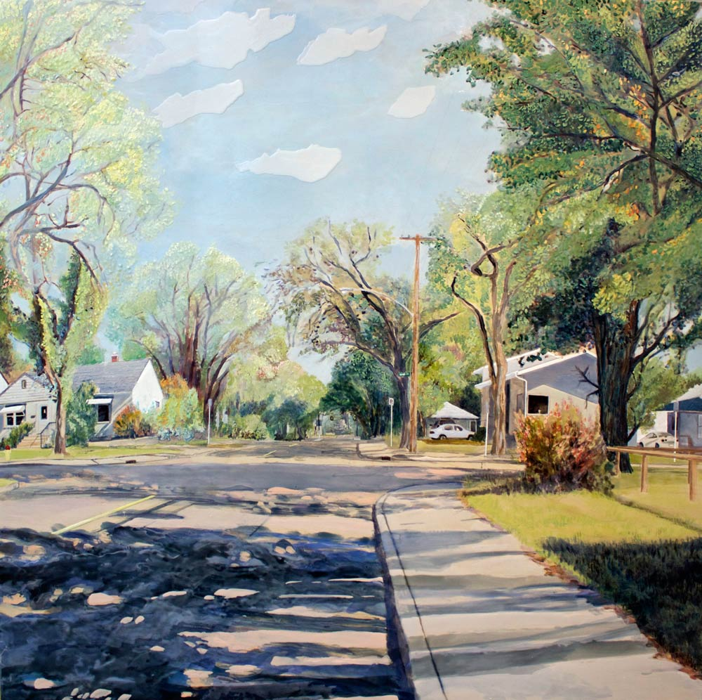 "Route to Campus, 40"" x 40"", Acrylic Panel, 2015"
