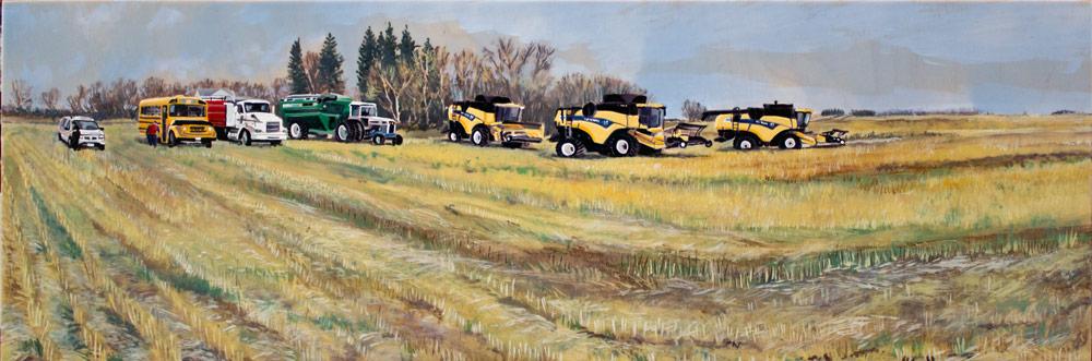 "Supper Break, 12"" x 36"" Acrylic Panel, 2016"