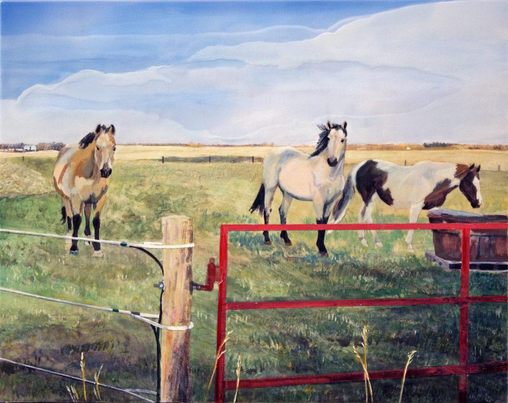 """Rodeo Girl, 16"""" x 20"""", Acrylic Panel, 2016"""