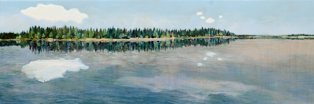 """Boreal Forest, 12"""" x 36"""", Acrylic Panel, 2016"""