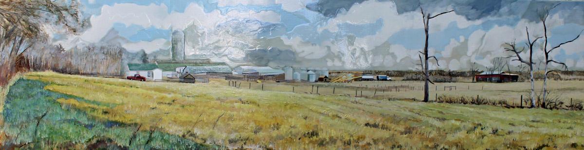 "Farming on the edge of the City, 12"" x 48"", Acrylic Panel, 2016"