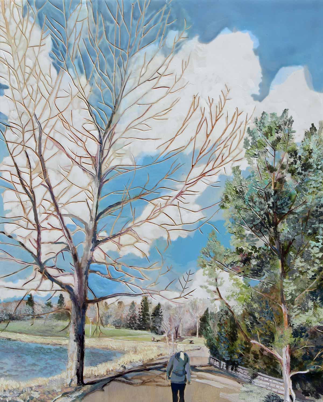 """Morning Walk, 20"""" x 16"""", Acrylic Panel, 2016"""