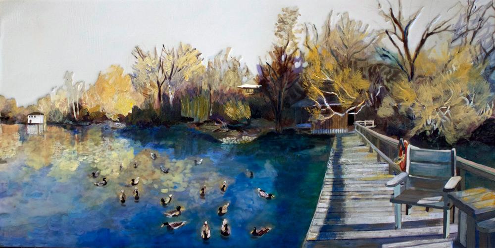 """Sanctuary, Vernon, 10"""" x 20"""", Acrylic Panel, 2014"""