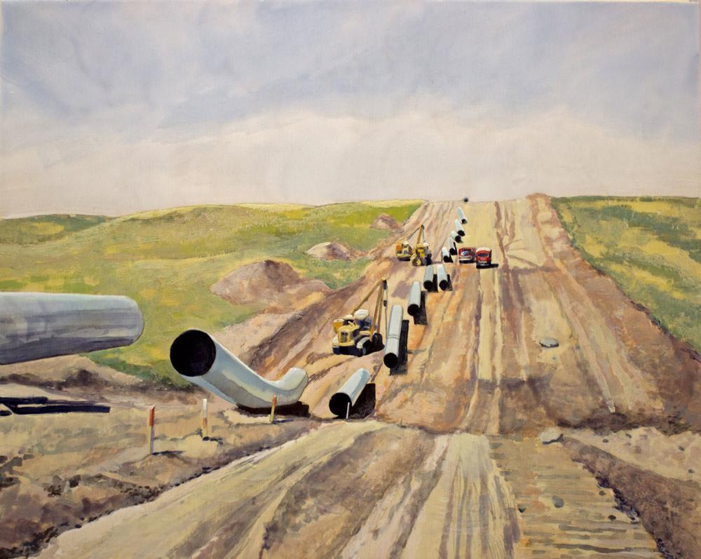 "Laying Pipe, 16"" x 20"", Acrylic Panel, 2016"