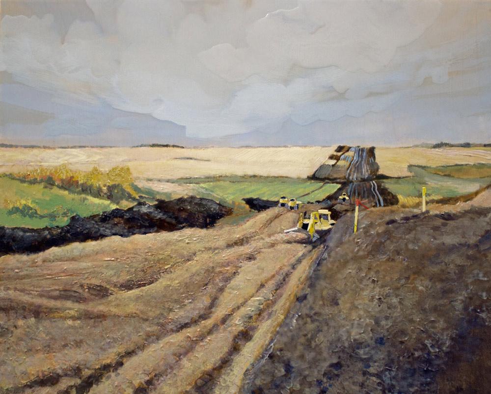 """Pushing Dirt, 16"""" x 20"""", Acrylic Panel, 2016"""