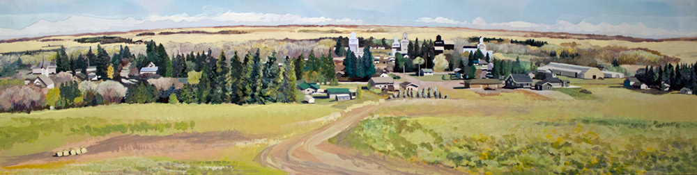 """Inglis from South, 12"""" x 48"""", Acrylic Panel, 2015"""