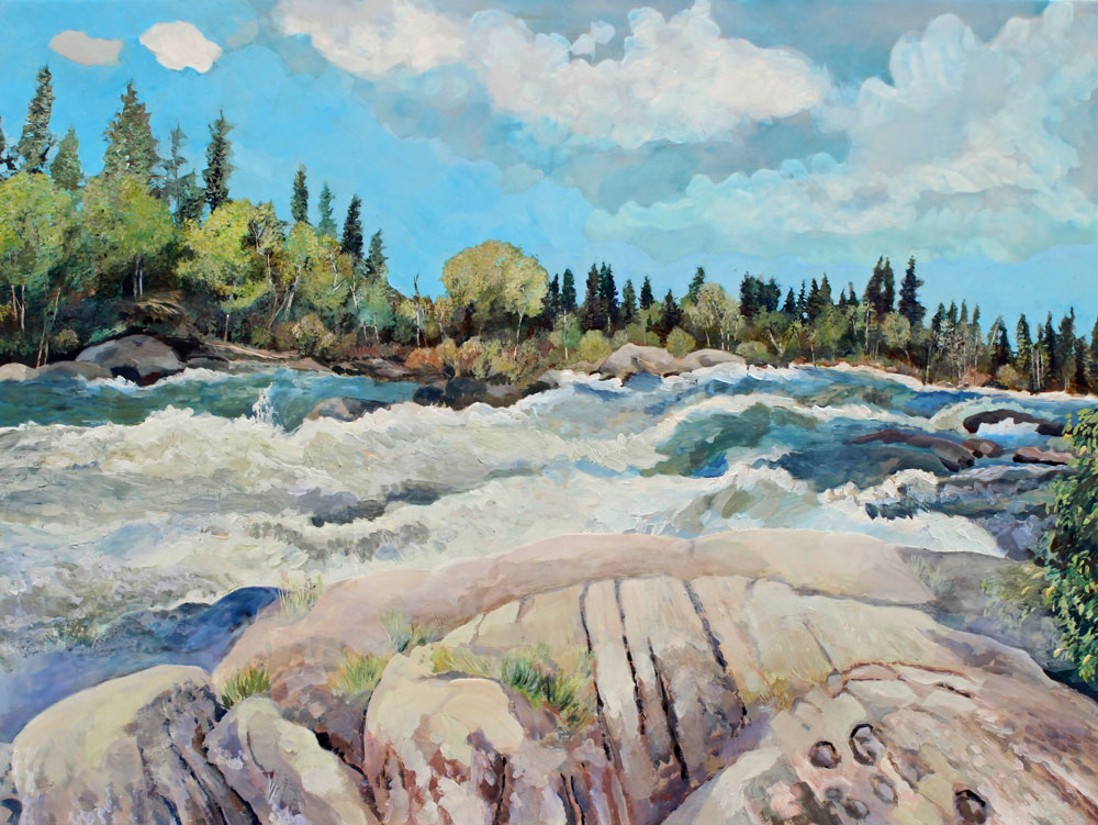 "The Falls, 36"" x 48"", Acrylic Panel, 2016"