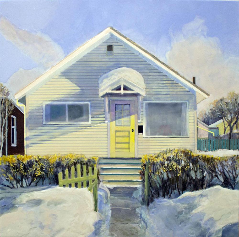 "Lily's House, 20"" x 20"", Acrylic Panel, 2016"