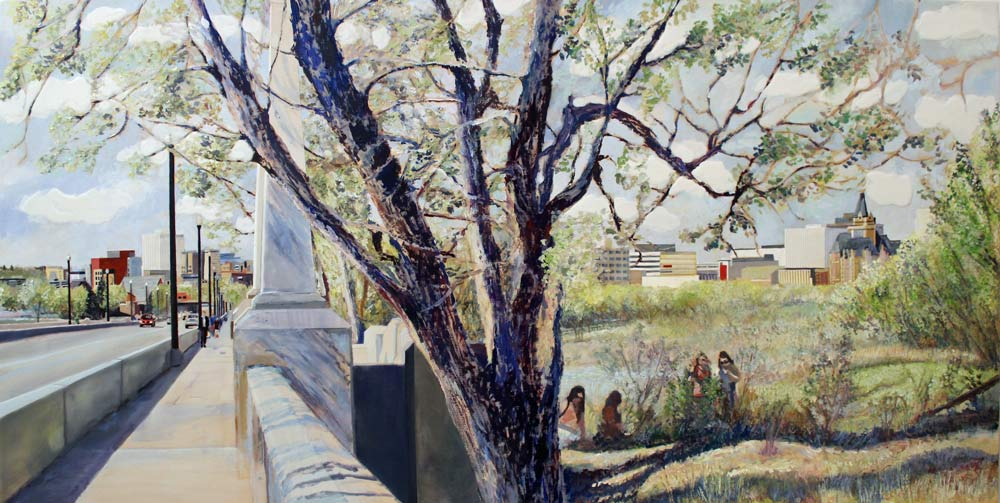 "Bridge Anchor, Road to AP, 24"" x 48"" Acrylic Panel, 2018"