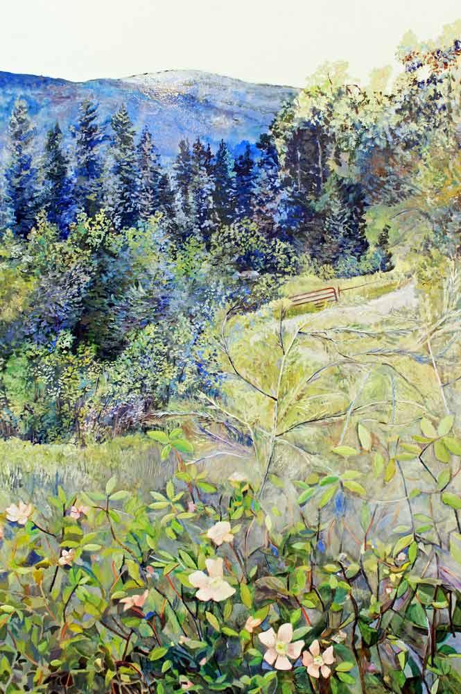 """Day 3 Backwoods Arrow Lakes, 36"""" x 24"""" Acrylic Panel"""