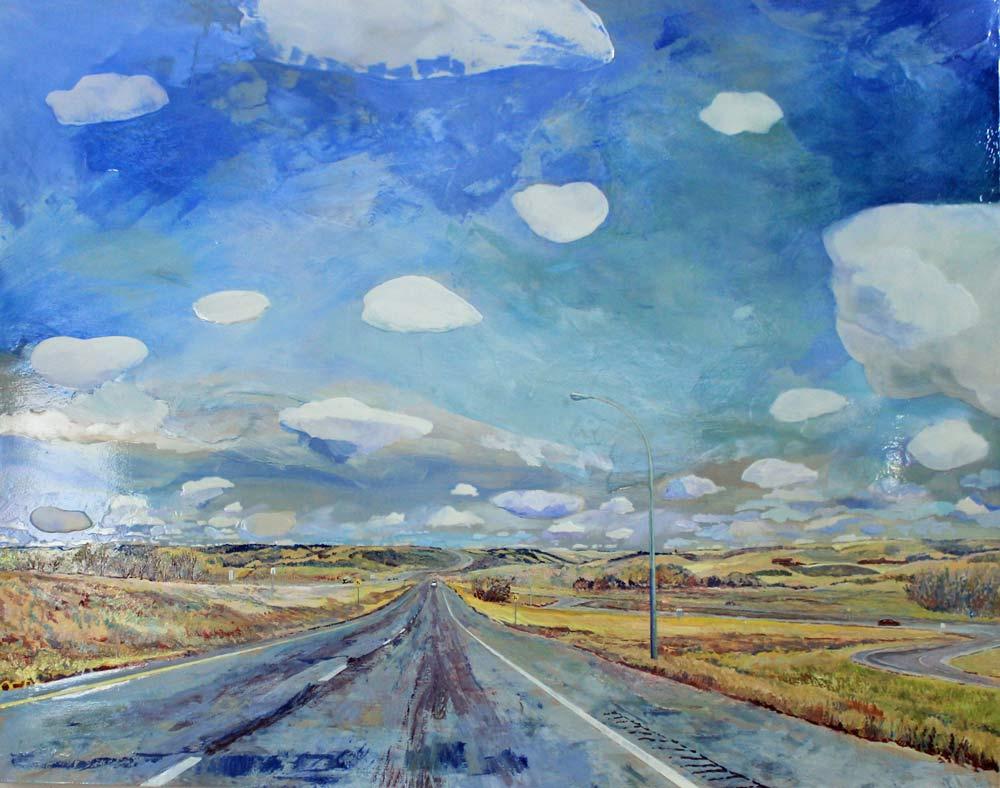 "Dashcam Into the Valley, 24"" x 48"", Acrylic Panel"