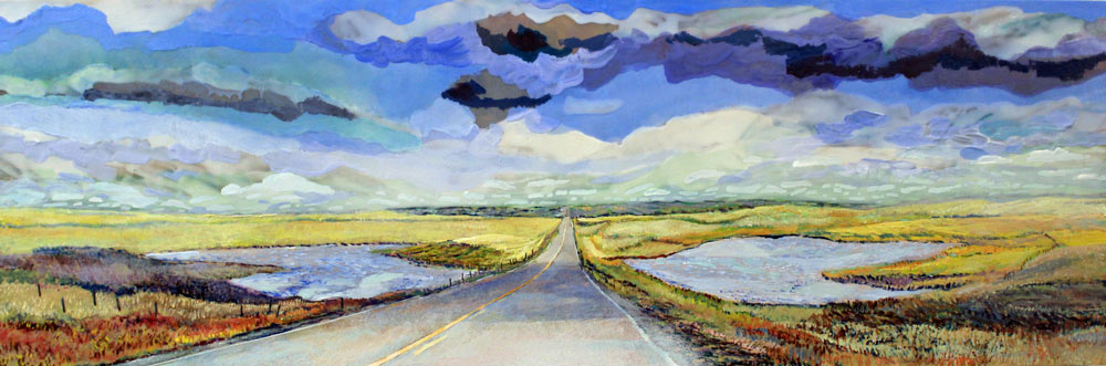 "Dashcam Sky Above Sky Below, 12"" x 36"", Acrylic Panel, 2019"