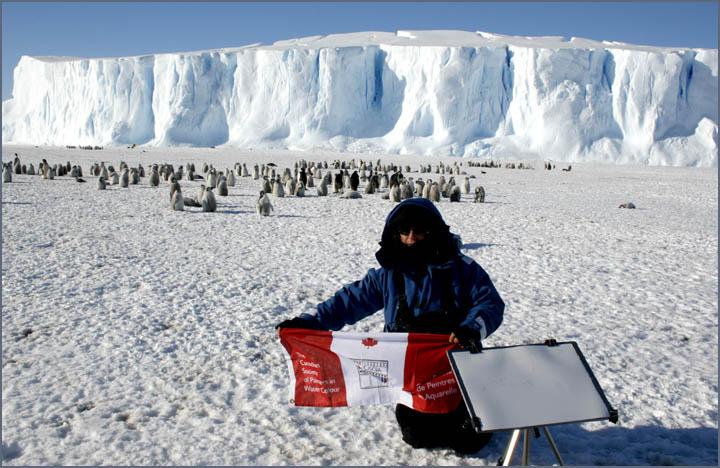 David McEown, cspwc flag, Auster Emperor penguin  Rookery , Antarctica
