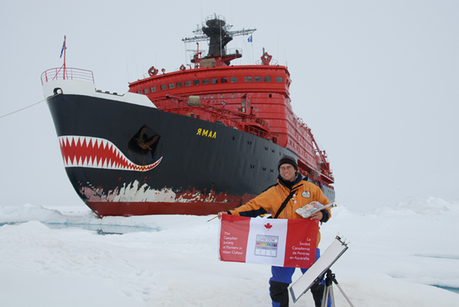 David McEown with CSPWC flag at the North Pole via Russian Nuclear Icebreaker, Yamal, 2007