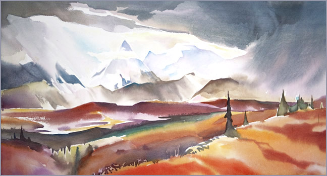"""Denali #2"" 12 in. x 22 in. watercolour"