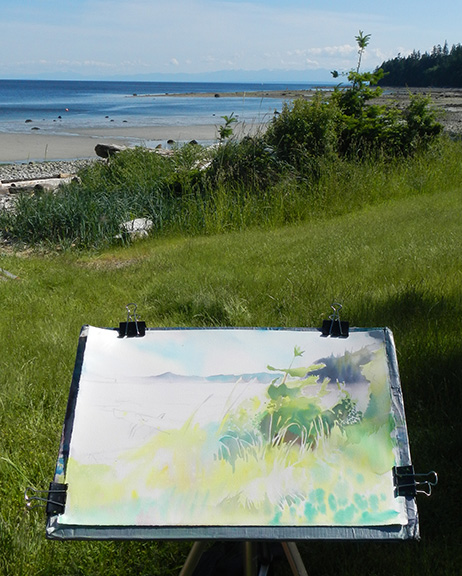 """Painting the shoreline grasses, an excersise in negative shape reading, and staying cool in the shade!"""