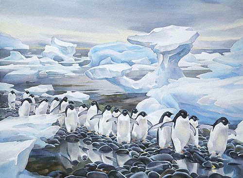 Antarctic Shoreline, 22in. x 22in. watercolour
