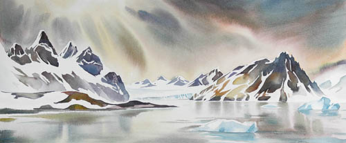 Hornsund, Burger Bay, 8.5in. x22in. watercolor