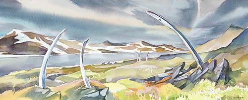 Yttygran Island, 10in. x 22in. watercolor
