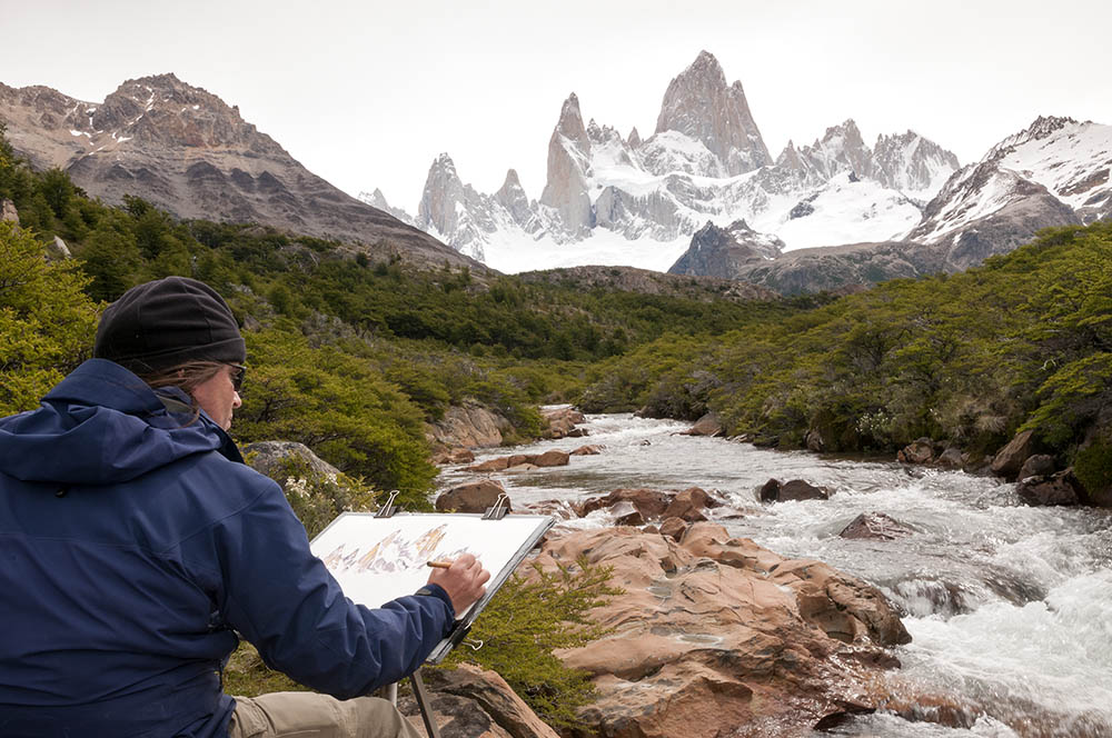 Painting Mt Fitz Roy