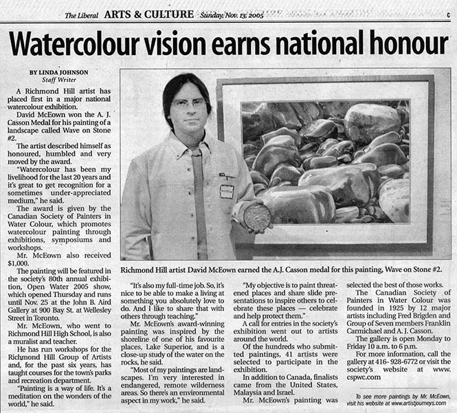 "The Liberal newspaper - November 13th 2005, Richmond Hill artist David McEown earned the A.J. Casson medal for his painting ""Wave on Stone N.2"""