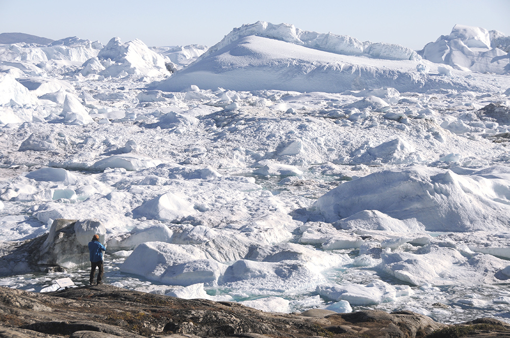 Overlooking the Ilulissat Ice fjord. Greenland , There is not paper big enough! (photo by C.S Ling)