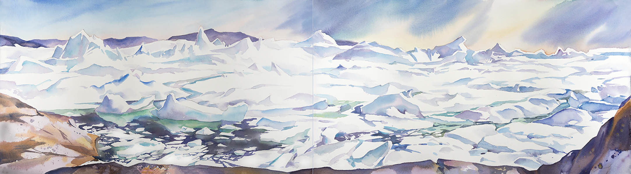 Ilulissat Ice fjord - Jacobsharvn glacier, 15 x 44in watercolour,diptych - Greenland  (available for sale)