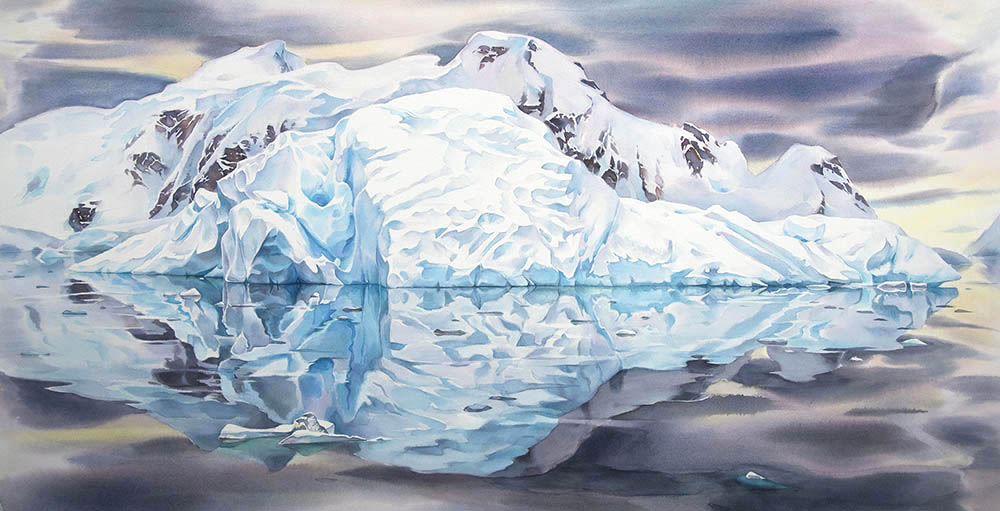 """Sleeping Giant, Paradise Harbour"" , 32 x 60 inches watercolour. (studio painting, available for sale)"