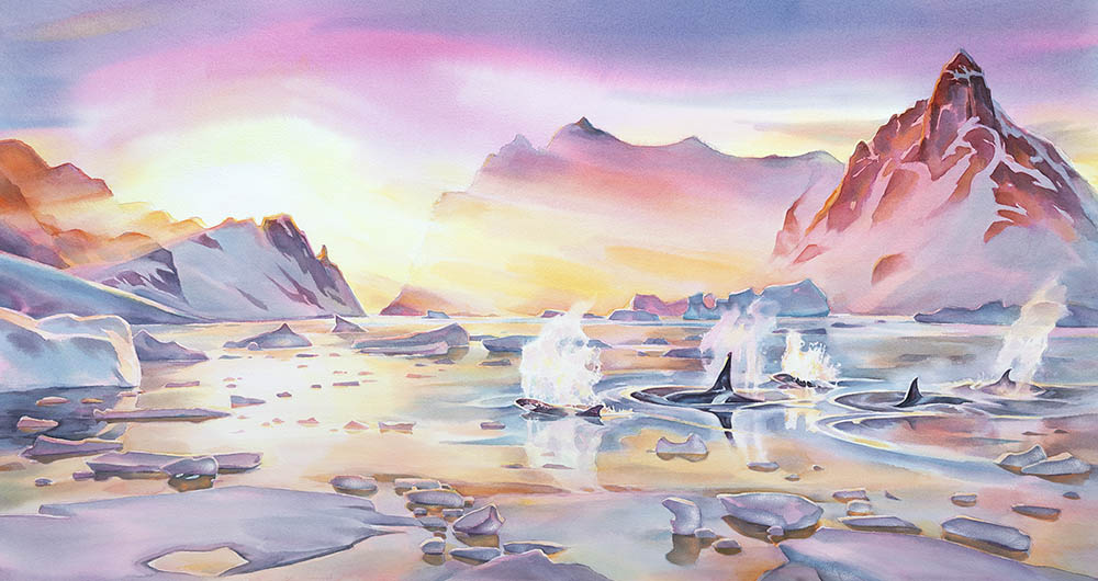 "New studio painting, ""Emergence"", 26 x 47inches watercolour - Antarctic Peninsula  (available for sale)"