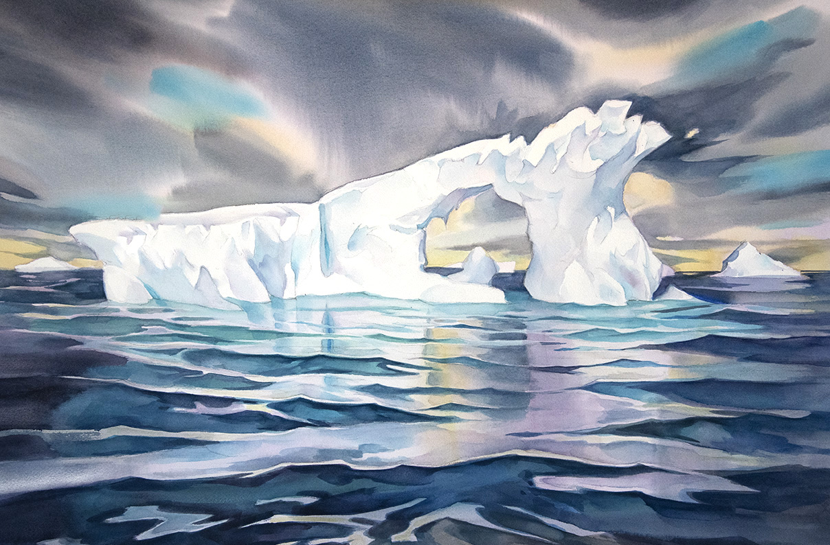 """Iceberg #24"", 19 x 29 inches watercolour, Antarctica.  (available for sale)"