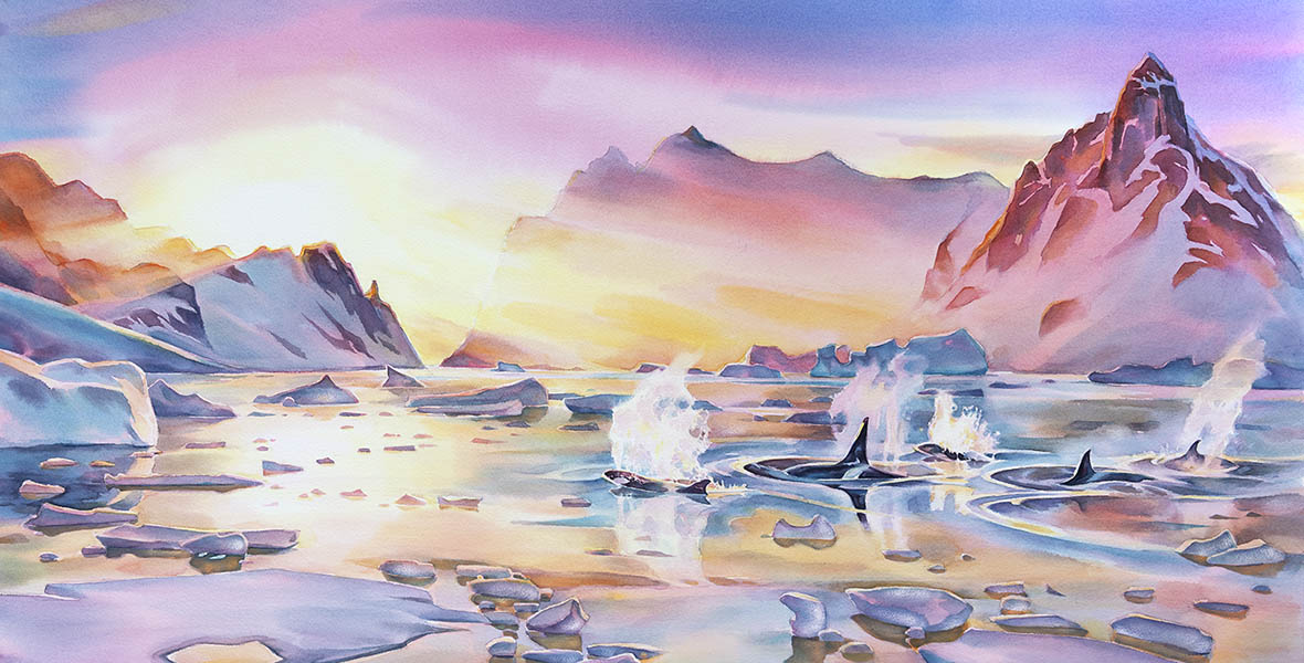 """Emergence"", 25 x47 inches  watercolour"