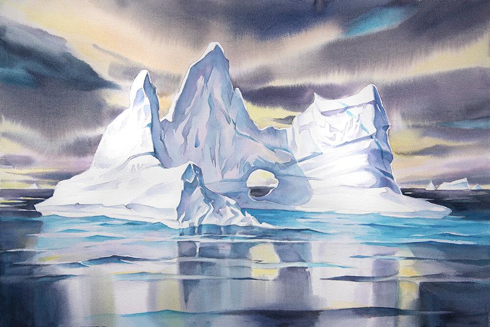 """Iceberg Reflections #4"", 15 x22 watercolour."