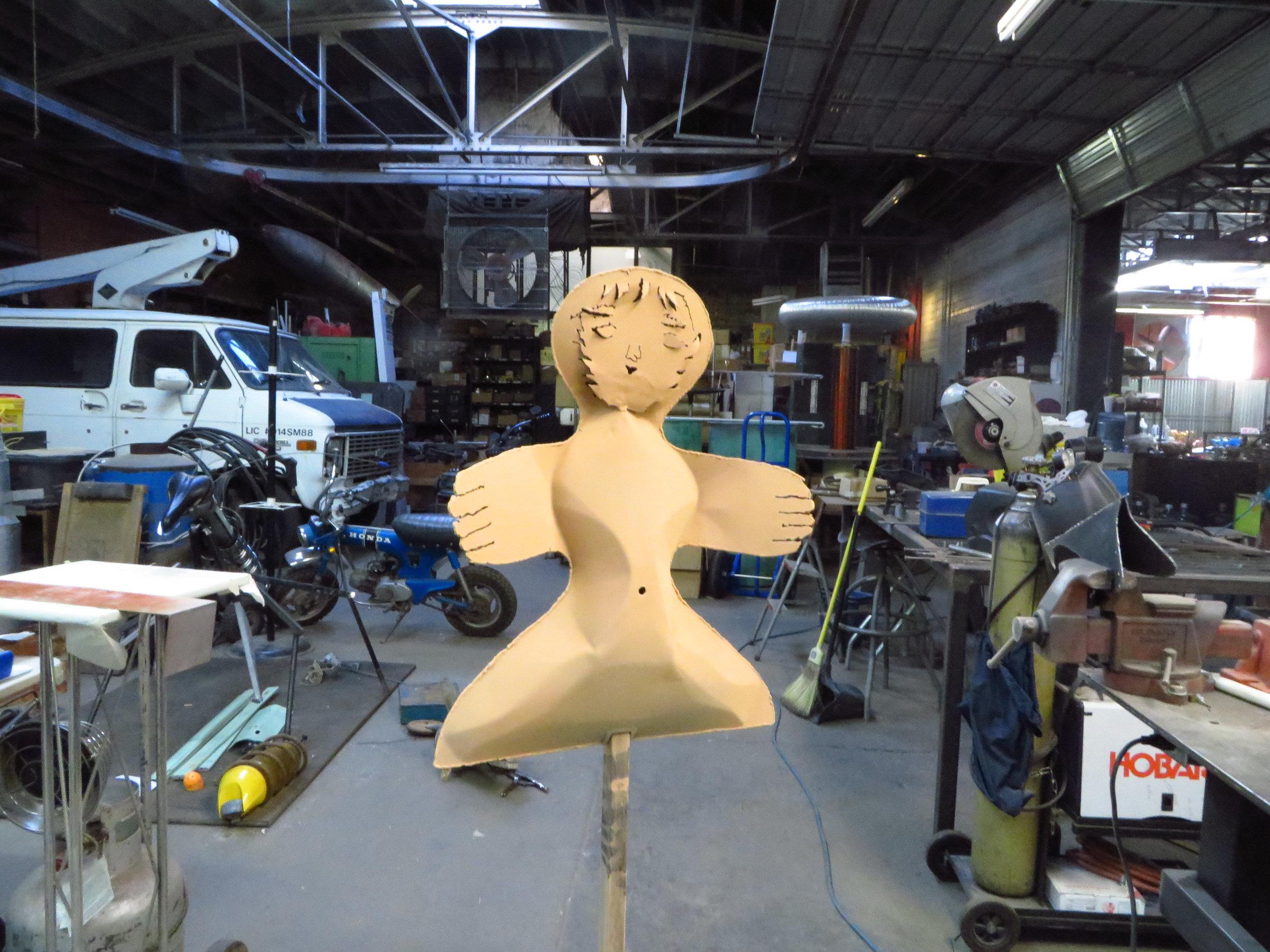 Making metal sculpture in Tony Greer's shop