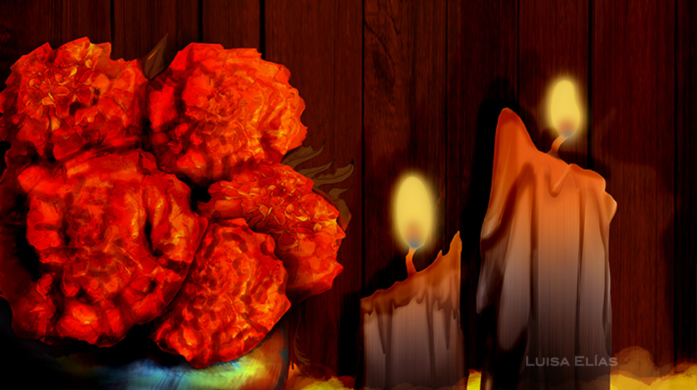 """""""Candles"""" Catrina (2013) - Long Vertical Pan // Technique: Pencil, Pan Classical animation paper, Photoshop and ToonBoom Harmony for the final composition."""