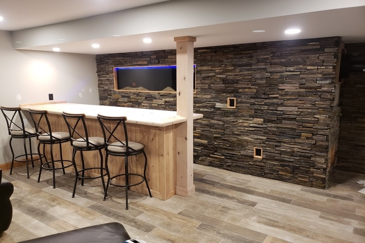 Finished Basement - - with built in fish tank