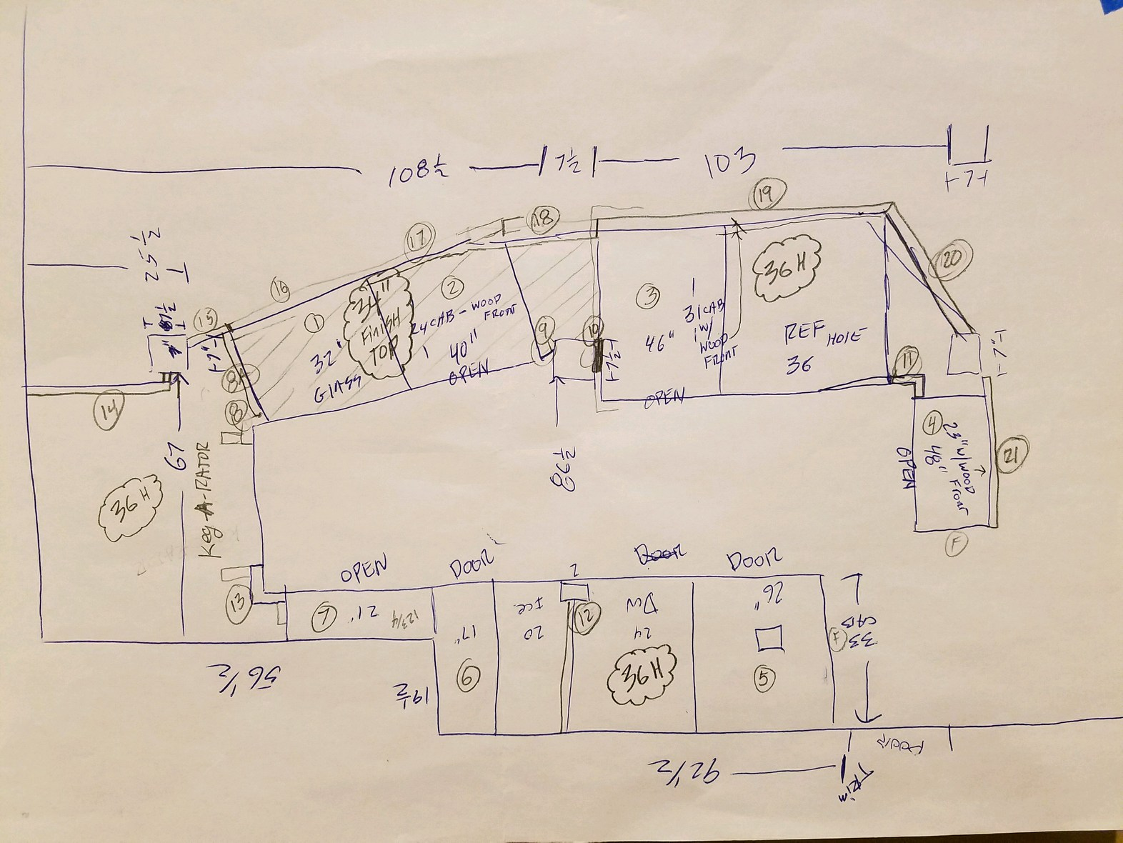 -Hand drawn plans for a cafe