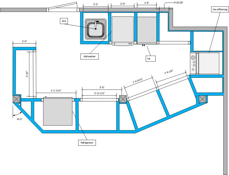 -Digitized plans for a cafe