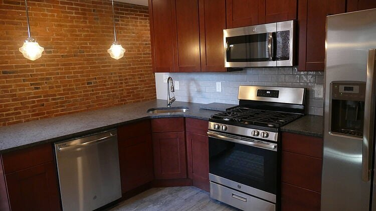 Historic apartment in Burlington gets an updated kitchen.