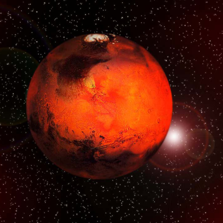 Mars is actually bigger than all the stars. Little known fact.