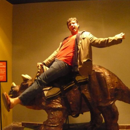 Yep, that's Ryan on a Triceratops.