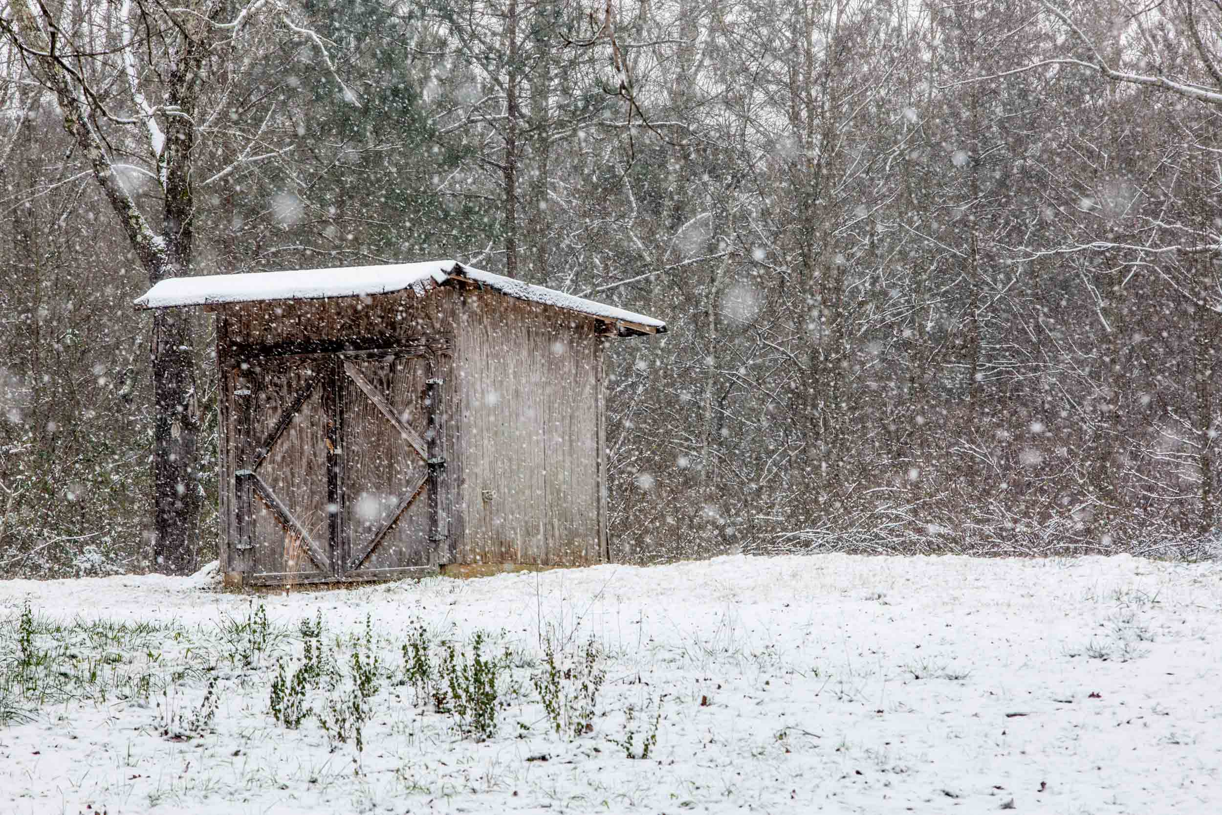 Snow falls on a shed during a light snow fall, Saturday, Jan. 23, 2016, in Woodstock, Ga.