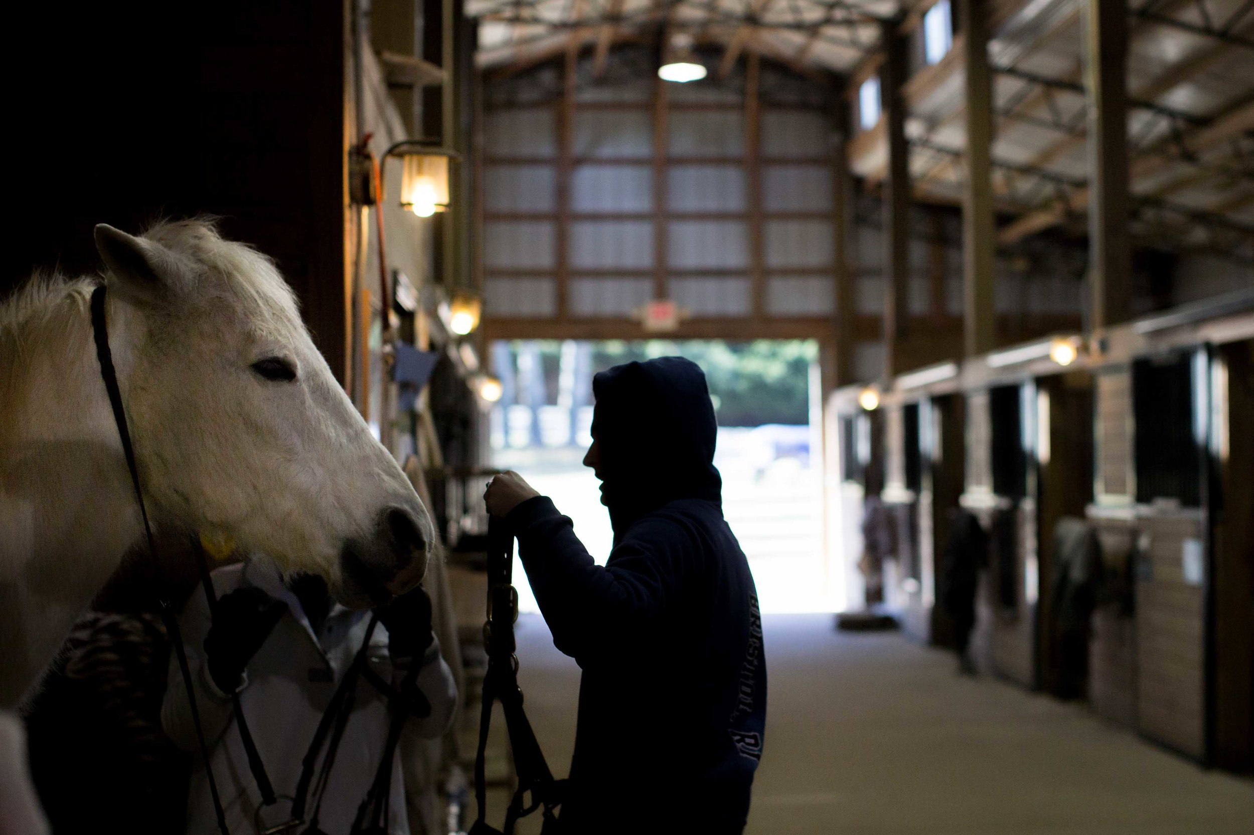 Niki McDonnell prepares a horse for riding lessons inside a horse stable on a cold day, Wednesday, Feb. 10, 2016, in Woodstock, Ga. (AP Photo/Branden Camp)