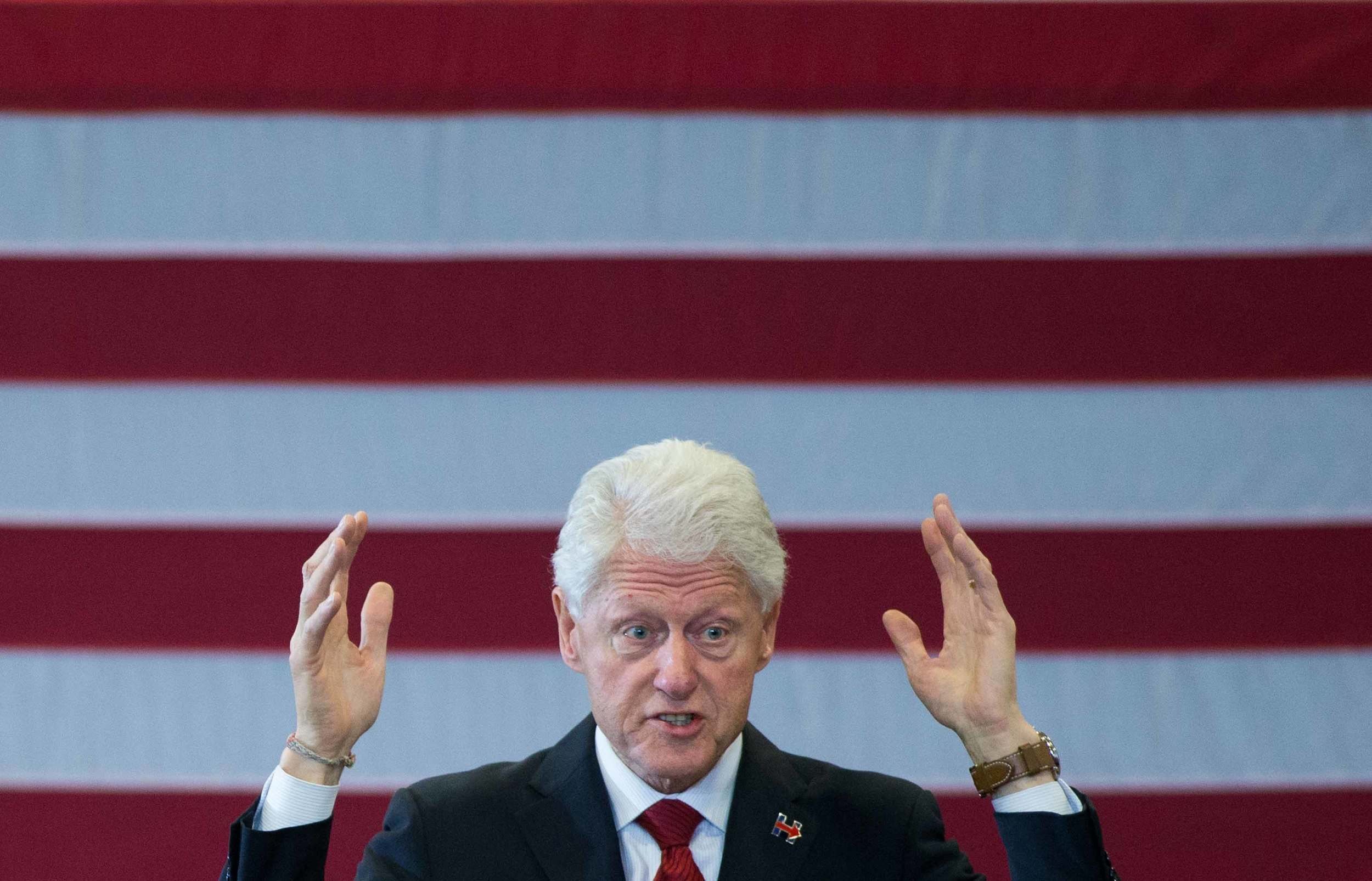 Former President Bill Clinton campaigns for his wife, Democratic presidential candidate Hillary Clinton, at North Clayton High School. Branden Camp/ZUMA wire
