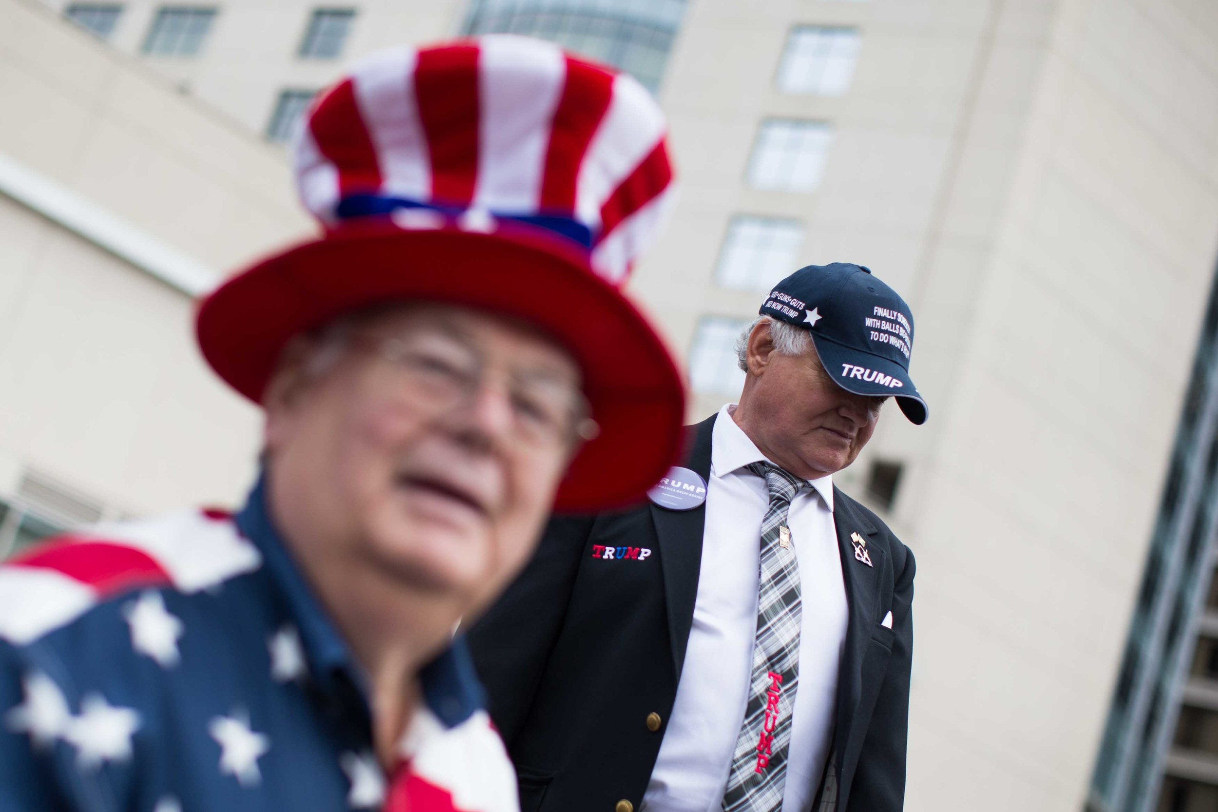 Danny Merck, right, and Ed Edwards wait in line to see Republican presidential candidate Donald Trump speak at a campaign rally at the Georgia World Congress Center, February 21, 2016 in Atlanta, Georgia. Trump won decisively in the South Carolina Republican Presidential Primary, the 'first in the south.'  Branden Camp/Getty Images
