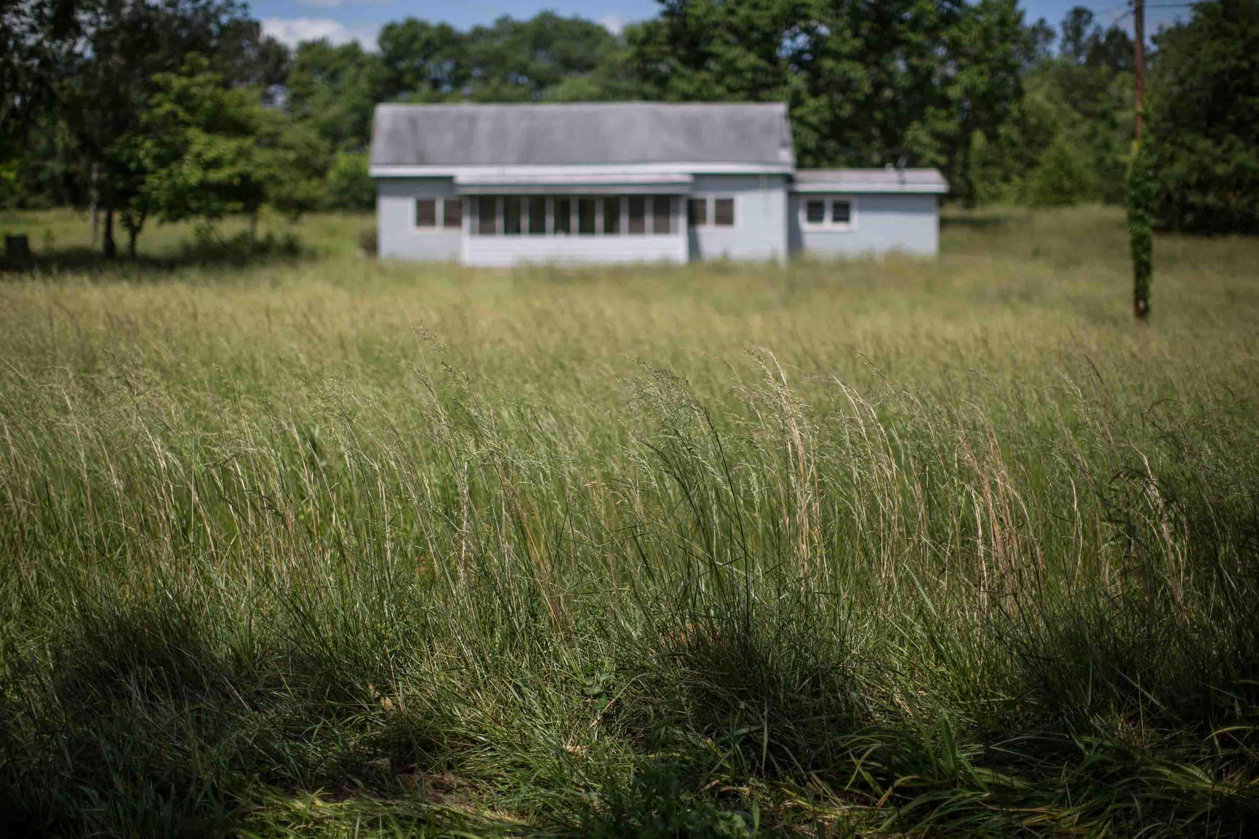 A house sits surrounded by overgrown grass in Kingston Ga.
