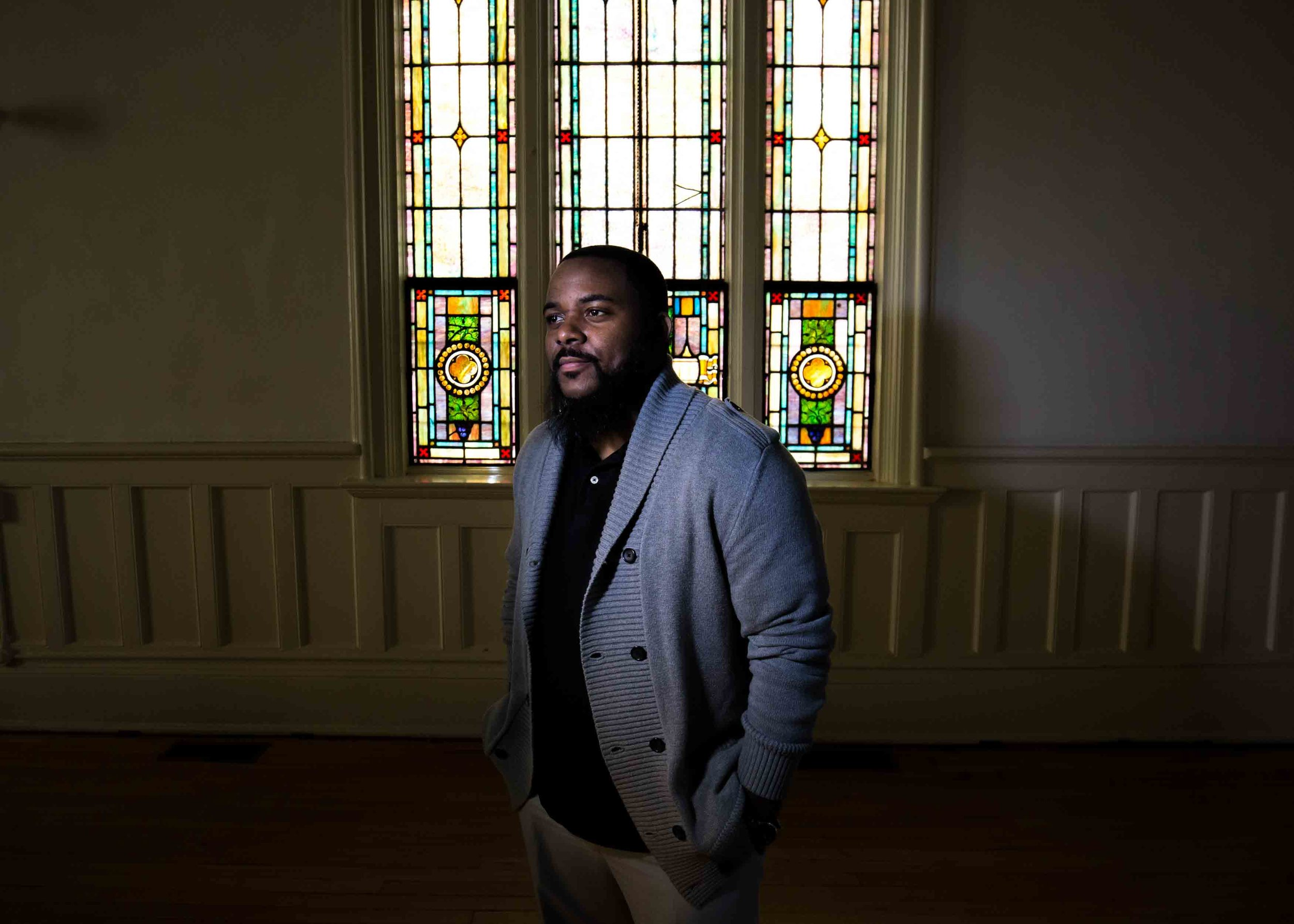 Billy Honor, pastor of Pulse Church, poses for a portrait following a worship service at his church, Sunday, Nov. 13, 2016, in Atlanta.  Branden Camp / for NBC News